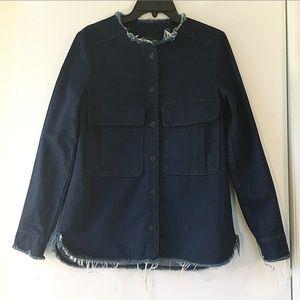 Zara Frayed Dark Wash Denim Jacket